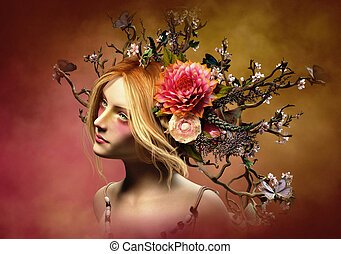Elven Crown, 3d CG - 3d computer graphics of a portrait of a...