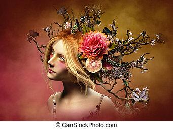 Elven Crown, 3d CG - 3d computer graphics of a portrait of a...