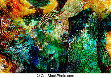 elven fairy creatures and energy lights, an insight in a fairy realm, face portrait closeup, cracklle effect collage