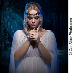 Elven girl in forest