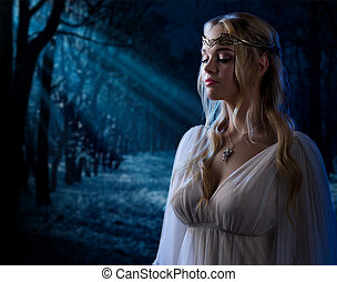 Elven girl in night forest