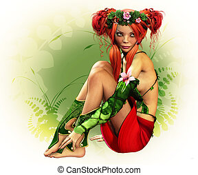 Elven Maiden - a fairylike girl with wreath and elven dress