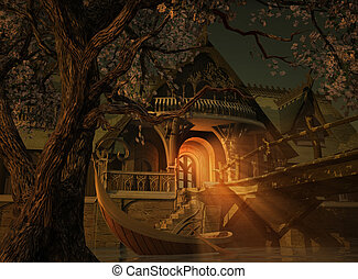 Elvenhome 3d CG - a scene with an Elvenhouse, a wooden...