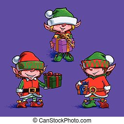 Set of 3 poses of cartoon illustrations Santa's Elfs. Each pose on separate layer.