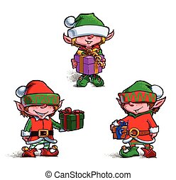 Set of 3 poses of cartoon illustrations Santa's Elves. Each pose on separate layer.