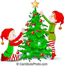 elves, decoreren, een, kerstboom