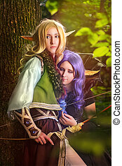 Elves From The Woods - Elf boy and elf girl stayng near the...