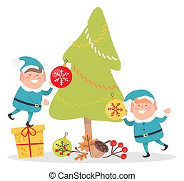 Elves in Blue Santa Suits Decorate Christmas Tree