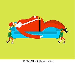 elves., noël, elf., sofa, santas, illustration, divan, dormir, santa, année, porter, nouveau, grand-père, noël