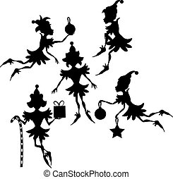 Elves Silhouettes - Some elves silhouettes isolated on white...