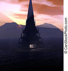 Digital created fantasy tower/building.