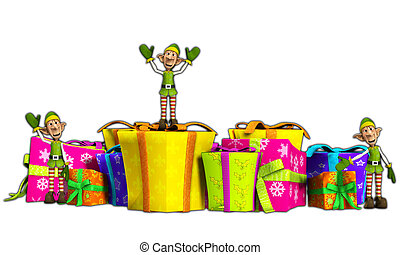 Elves With Christmas Gifts