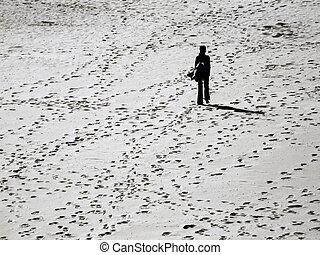 elveszett, alatt, a, strand
