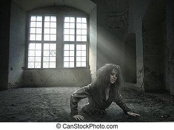 elveszett, nő, alatt, a, vacated, szoba
