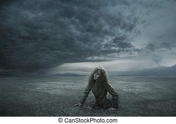 elveszett, nő, alatt, viharos, nap