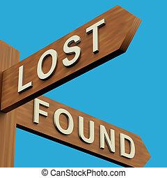 elveszett, vagy, alapít, irányítások, képben látható, egy, útjelző tábla