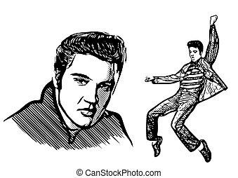 elvis presley vector illustration