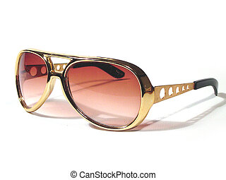 Sunglasses like the ones Elvis used to wear, isolated on white.