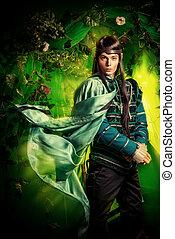 elvish - Noble fairy elf in the magic forest. Fantasy. Fairy...