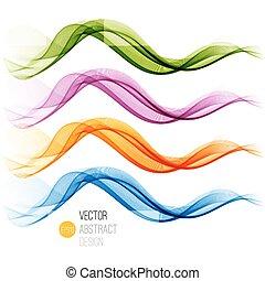 elvont, ábra, állhatatos, vektor, waves.