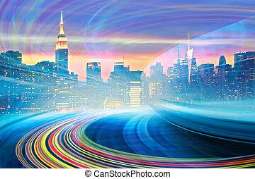 elvont, ábra, közül, egy, városi, autóút, haladó, fordíts, a, modern, város, belvárosi, gyorsaság, indítvány, noha, colorful csillogó, trails., kép, közül, új york város égvonal, van, alapján, az enyém, collection.