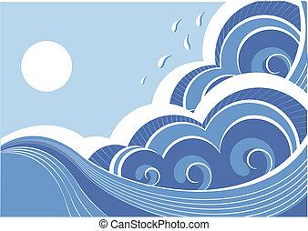 elvont, ábra, vektor, táj, tenger, waves.