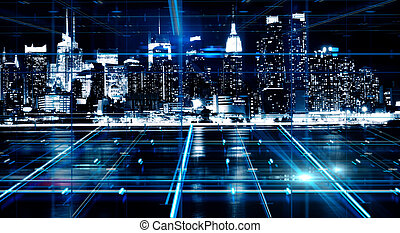 elvont, éjszaka, város, háttér