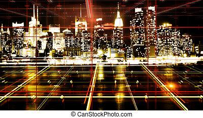 elvont, éjszaka, város, háttérfüggöny