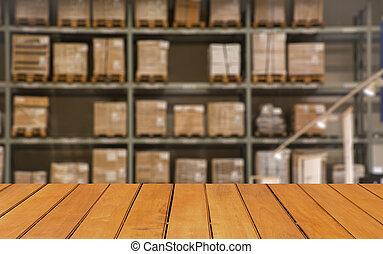 elvont, életlen, dobozok, képben látható, evez, közül, polc, alatt, nagy, modern, raktárépület, háttér