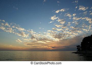 elvont, óceán, és, napnyugta, háttér