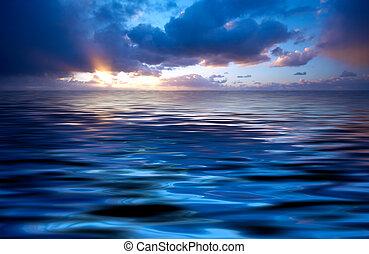 elvont, óceán, és, napnyugta