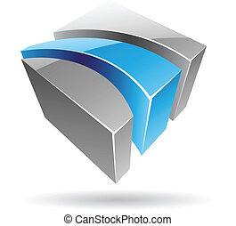 elvont, 3, színes, kocka alakú, ikon
