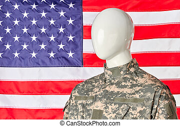 elvont, amerikai, hadsereg, katona, patrióta, alatt, hadi, uniform., usa lobogó, háttér.