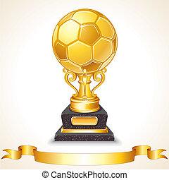 elvont, arany-, futball, trophy., vektor, ábra