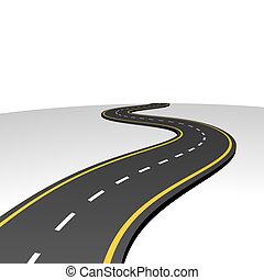 elvont, autóút, haladó, fordíts, horizont