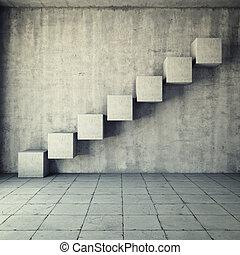 elvont, beton, lépcsőház