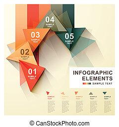 elvont, címke, háromszög, infographics