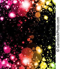 elvont, colorful csillogó, alatt, vibráló, izgalmas, homály