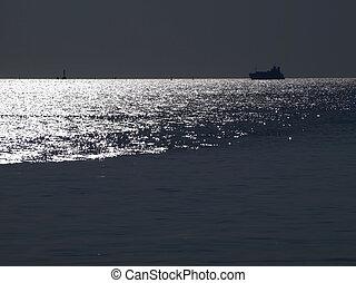 elvont, csillogó, óceán