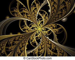 elvont, digitally kivált arcmás, arany-, virág