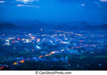 elvont, elhomályosít, felülnézet, közül, éjszaka, kicsi város
