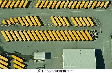 elvont, felülnézet, közül, iskolabusz, raktár