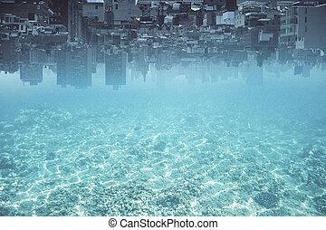 elvont, felfordított, víz, város, háttér