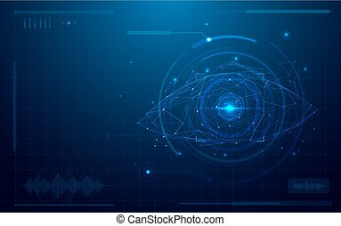 elvont, futuristic, digitális, szem, scanner., fogalom, közül, technológia, biztonság, képben látható, blue háttér