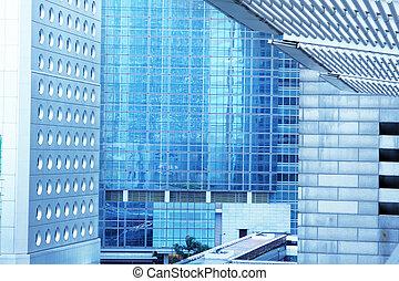 elvont, háttér, közül, kereskedelmi ügynökség, épületek, exterior.