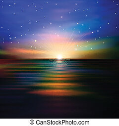 elvont, háttér, noha, tenger, napnyugta