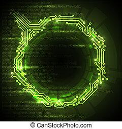 elvont, háttér, vektor, zöld, műszaki