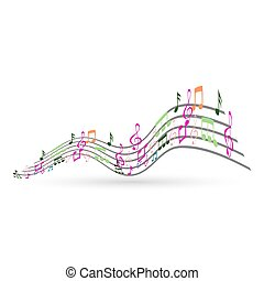 elvont, hangjegy, zene, háttér, színes