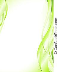 elvont, hullámos, zöld csillogó, keret
