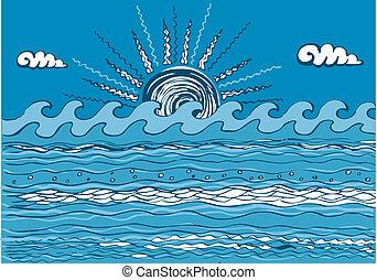 elvont, kék, ábra, tenger, wave., vektor